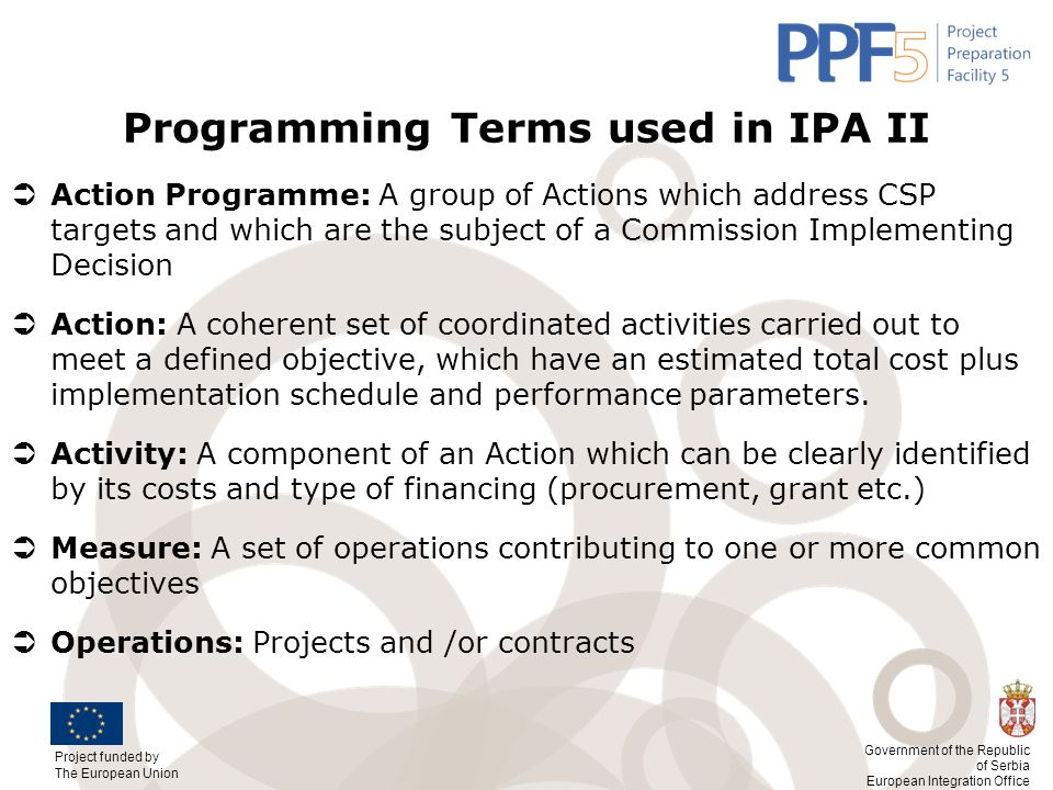 Programming Terms used in IPA II
