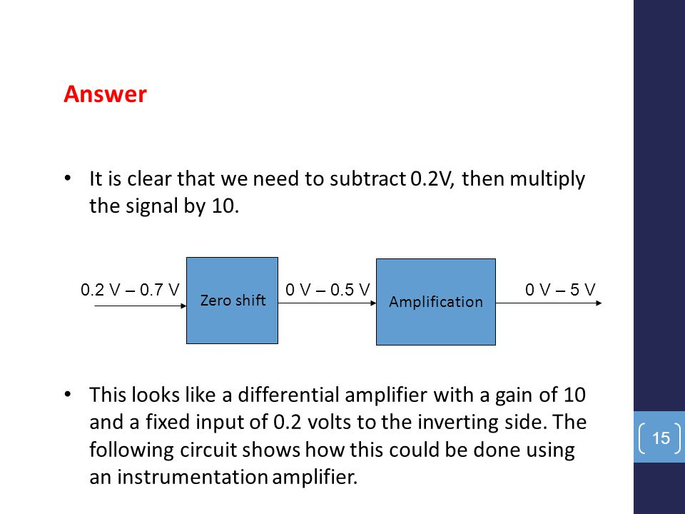 Answer It is clear that we need to subtract 0.2V, then multiply the signal by 10. Zero shift. Amplification.