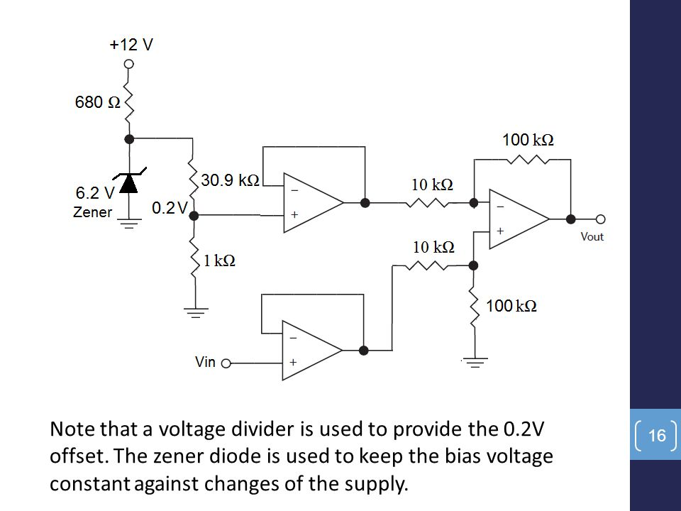 Note that a voltage divider is used to provide the 0. 2V offset
