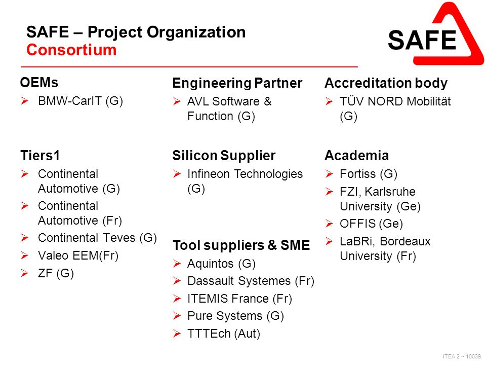 SAFE – Project Organization Consortium