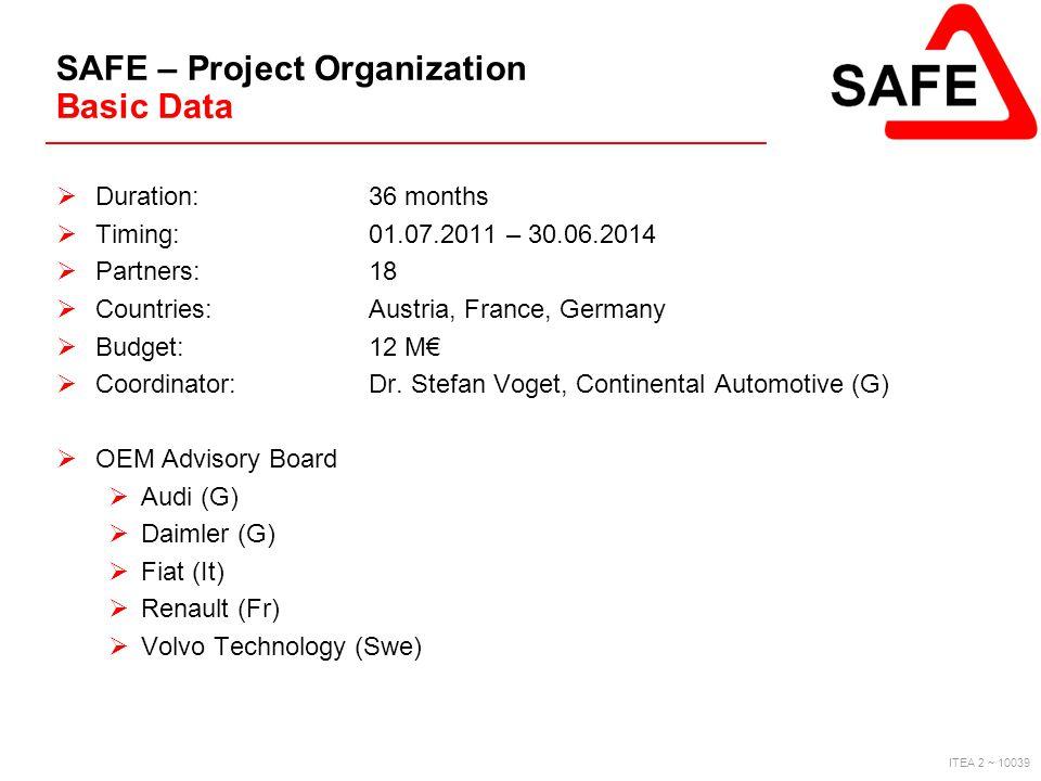 SAFE – Project Organization Basic Data