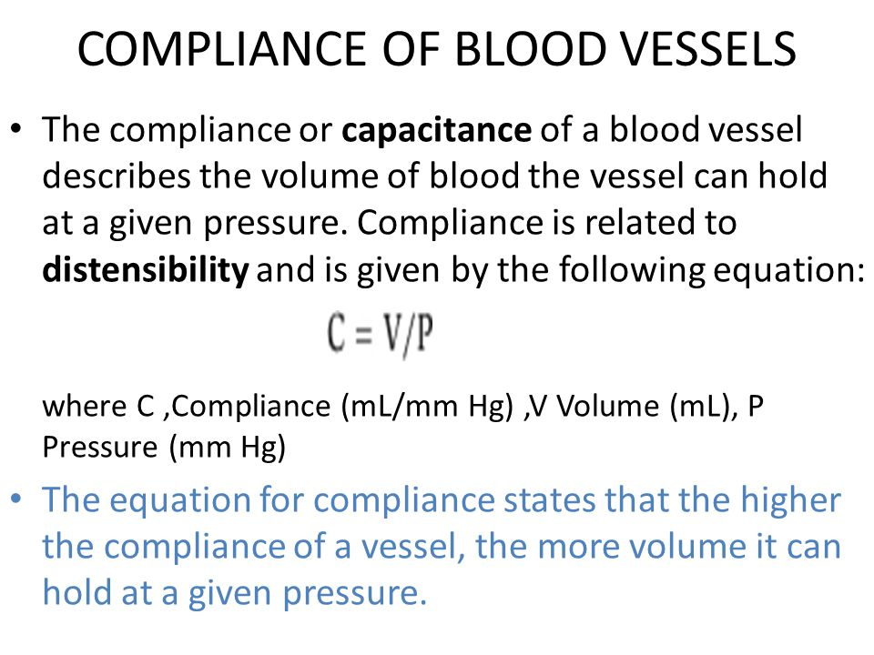 COMPLIANCE OF BLOOD VESSELS