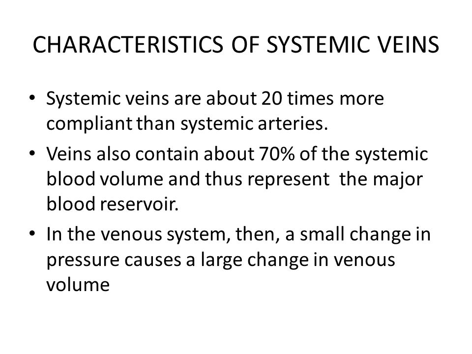 CHARACTERISTICS OF SYSTEMIC VEINS
