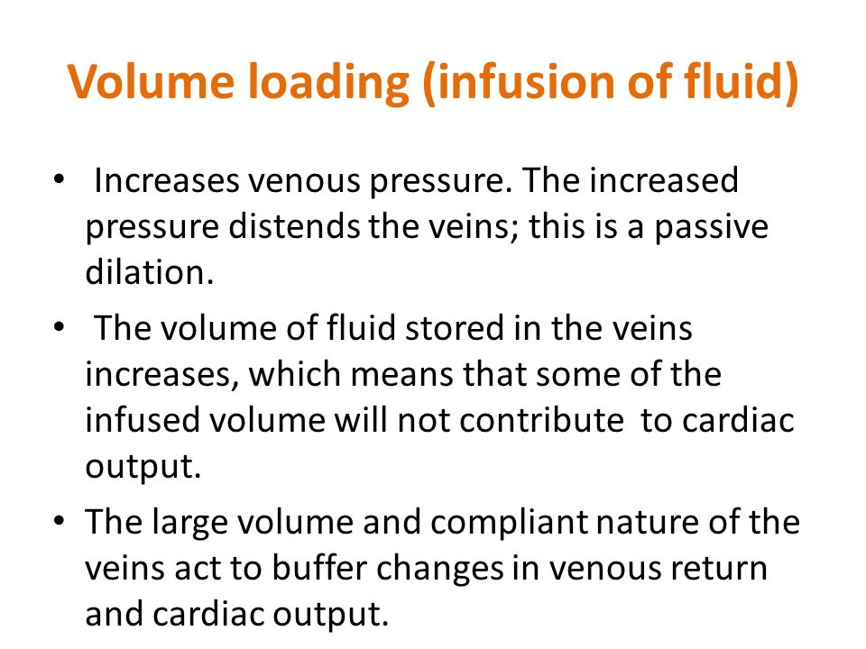 Volume loading (infusion of fluid)