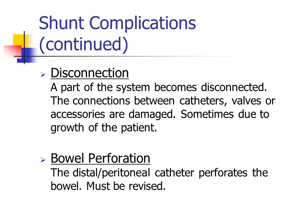 Shunt Complications (continued)