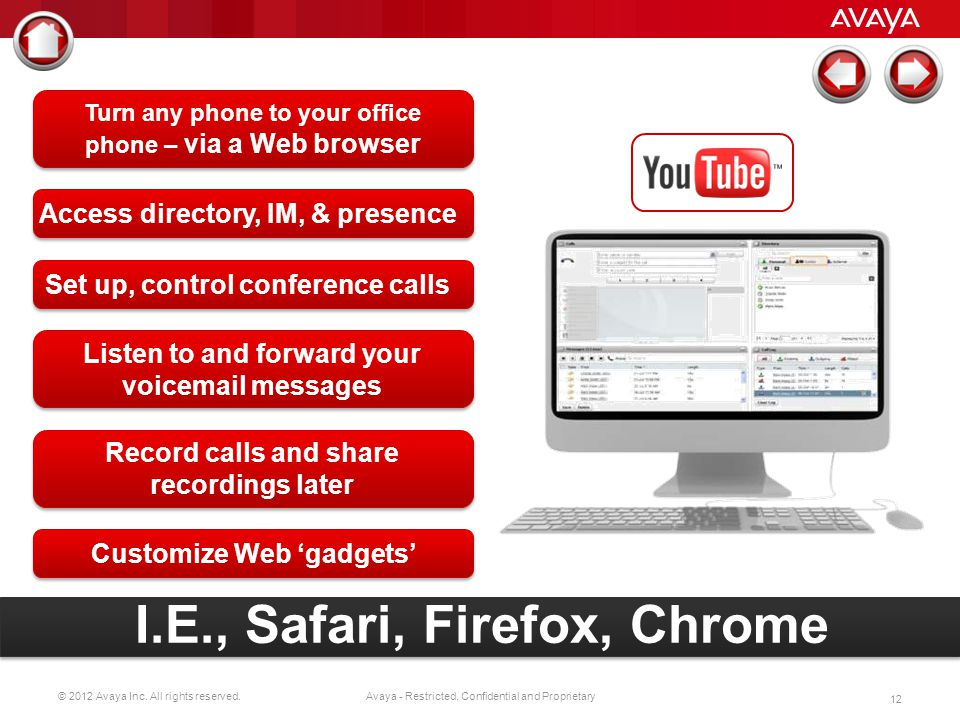 I.E., Safari, Firefox, Chrome