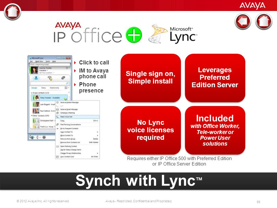 Single sign on, Simple install. Leverages Preferred Edition Server. Click to call. IM to Avaya phone call.