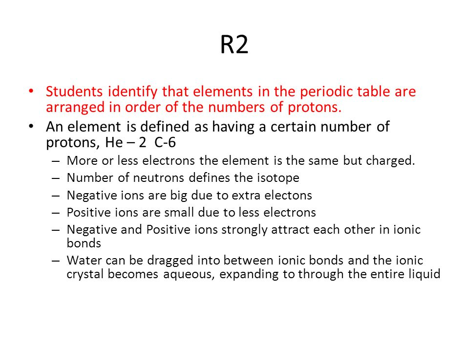 R2 Students identify that elements in the periodic table are arranged in order of the numbers of protons.