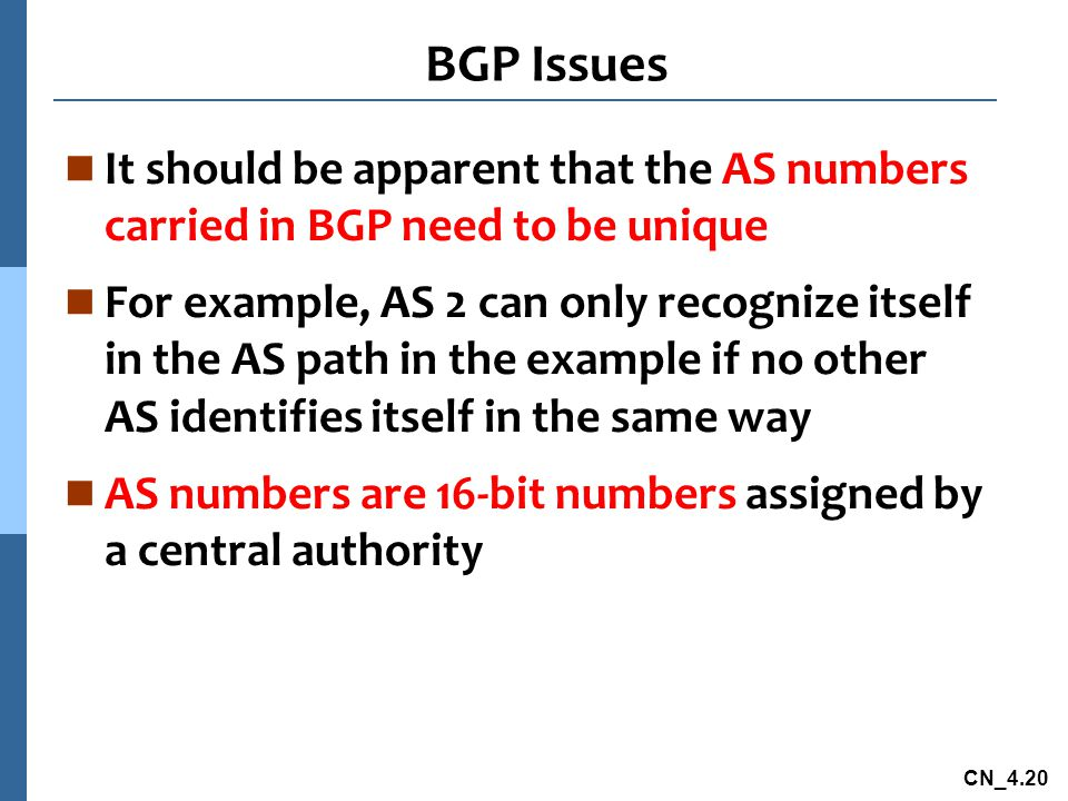 BGP Issues It should be apparent that the AS numbers carried in BGP need to be unique.