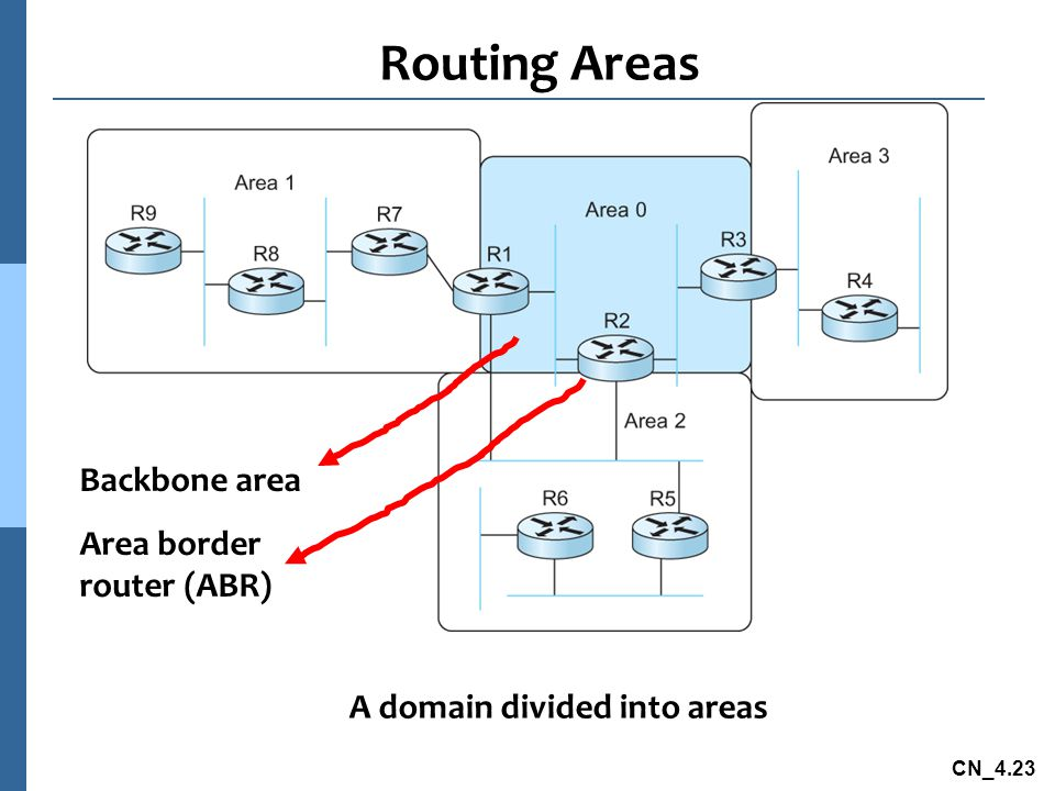 Routing Areas Backbone area Area border router (ABR)