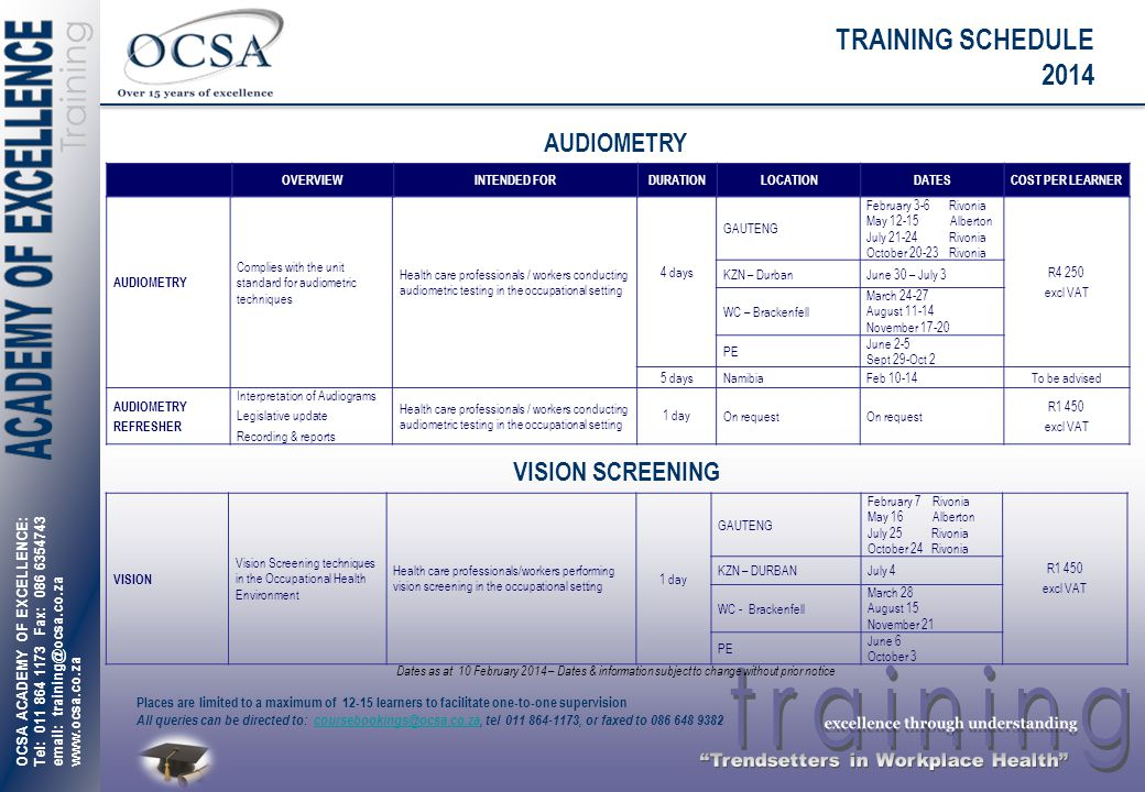 TRAINING SCHEDULE 2014 AUDIOMETRY VISION SCREENING OVERVIEW