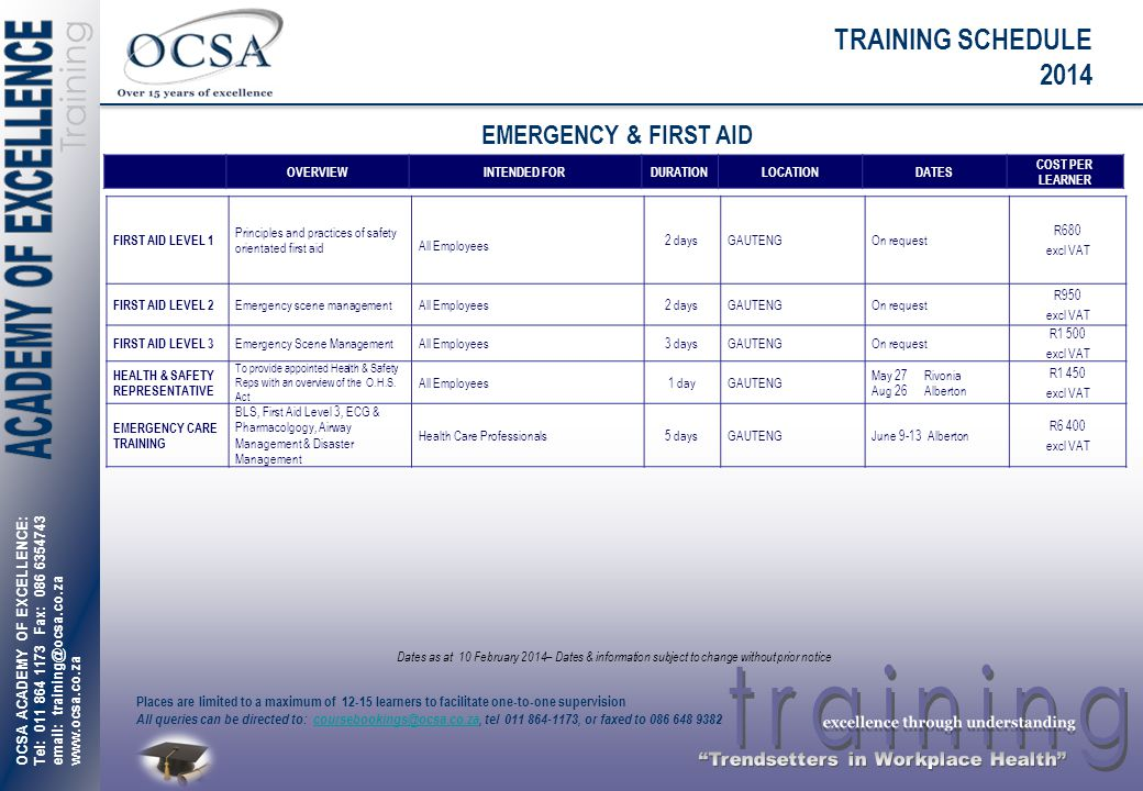 TRAINING SCHEDULE 2014 EMERGENCY & FIRST AID OVERVIEW INTENDED FOR