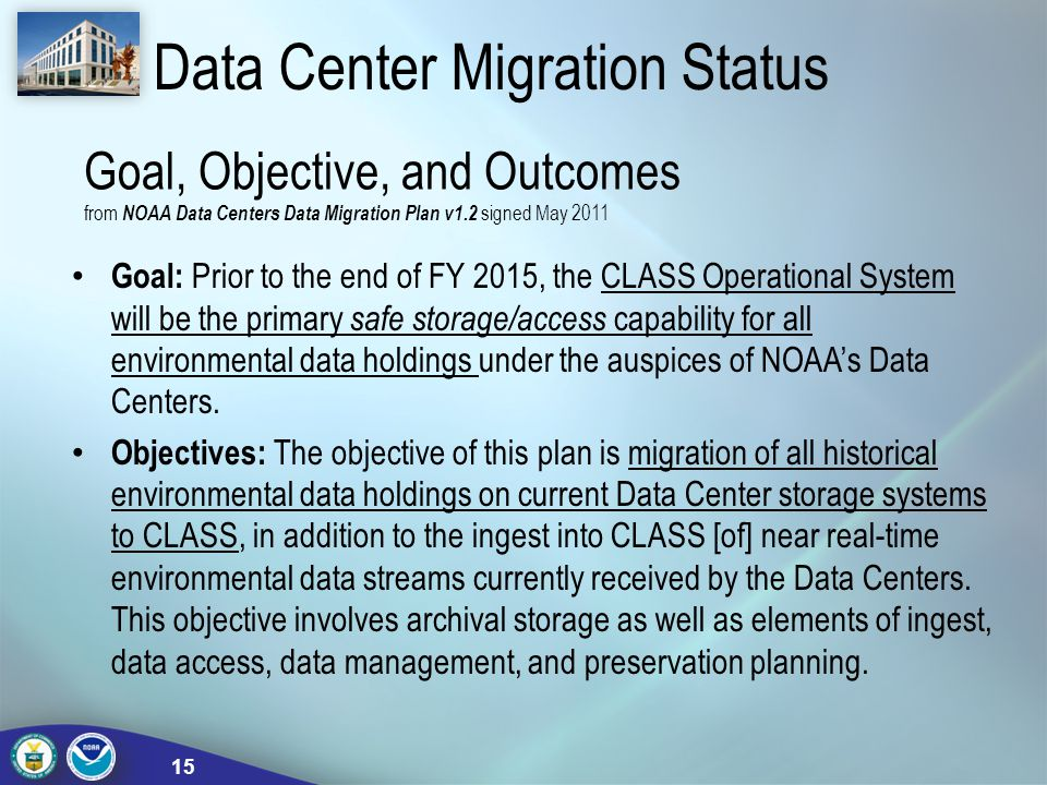 Data Center Migration Status