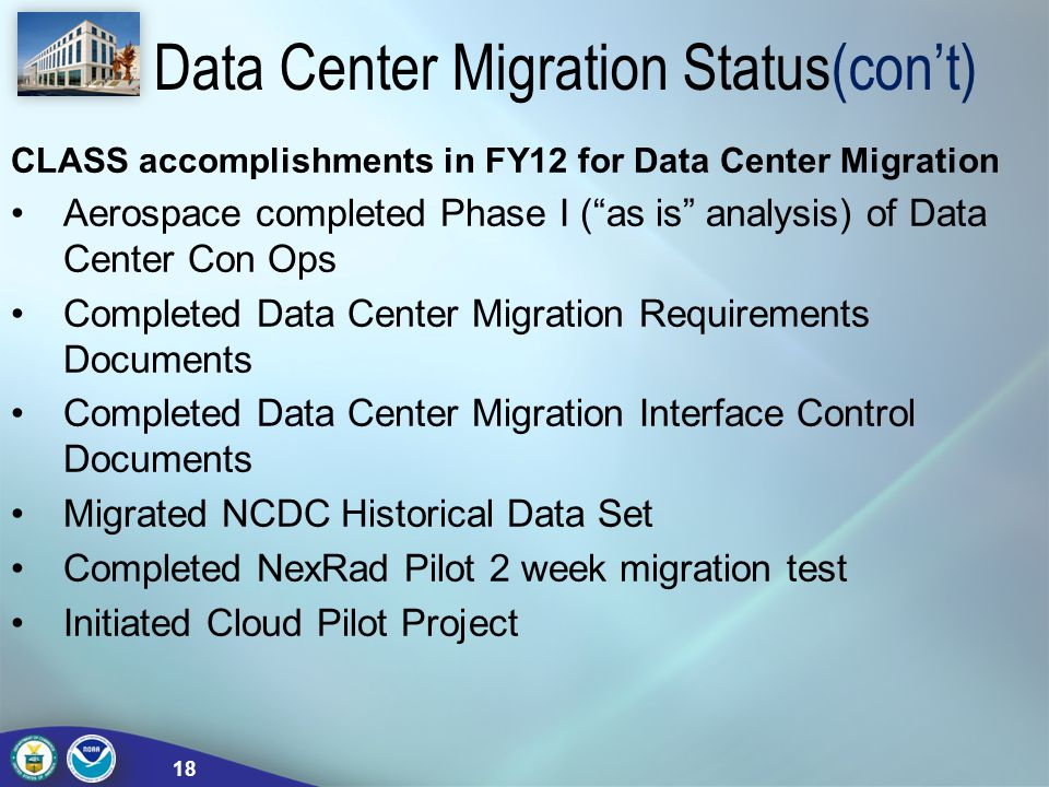 Data Center Migration Status(con't)