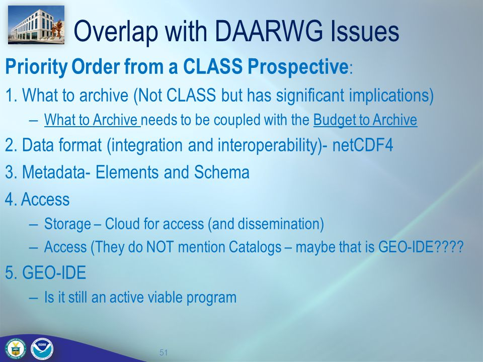Overlap with DAARWG Issues