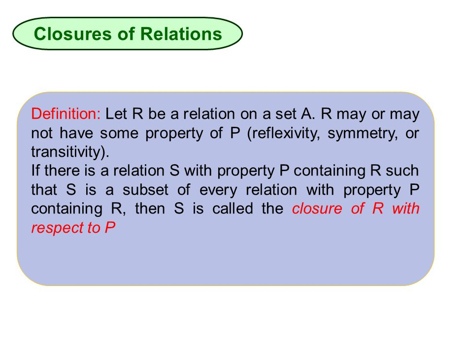 Closures of Relations Definition: Let R be a relation on a set A. R may or may not have some property of P (reflexivity, symmetry, or transitivity).