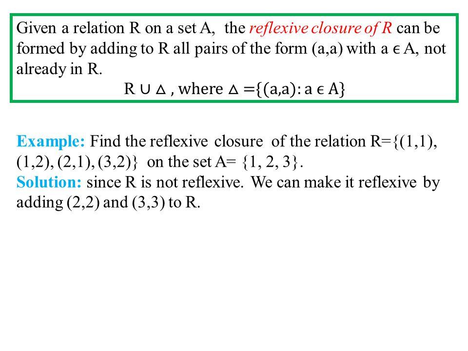 R ∪ △ , where △ ={(a,a): a ϵ A}
