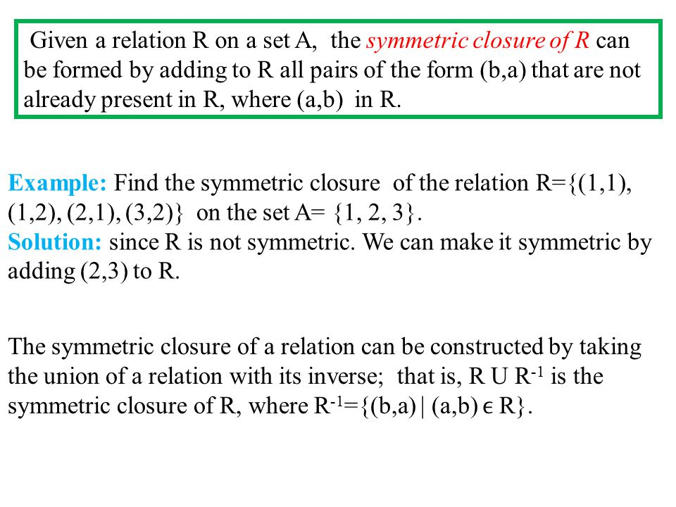 Given a relation R on a set A, the symmetric closure of R can be formed by adding to R all pairs of the form (b,a) that are not already present in R, where (a,b) in R.