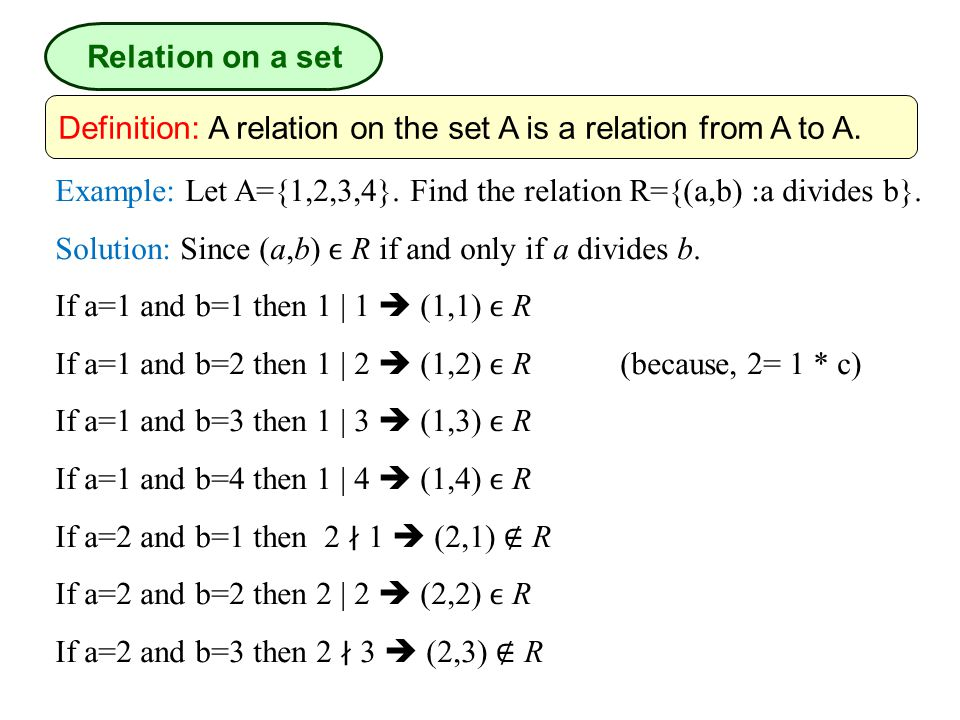 Relation on a set Definition: A relation on the set A is a relation from A to A. Example: Let A={1,2,3,4}. Find the relation R={(a,b) :a divides b}.
