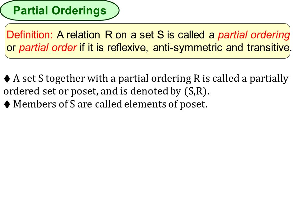 Partial Orderings Definition: A relation R on a set S is called a partial ordering.