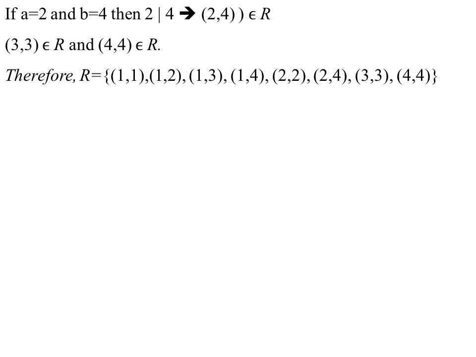 If a=2 and b=4 then 2 | 4  (2,4) ) ϵ R