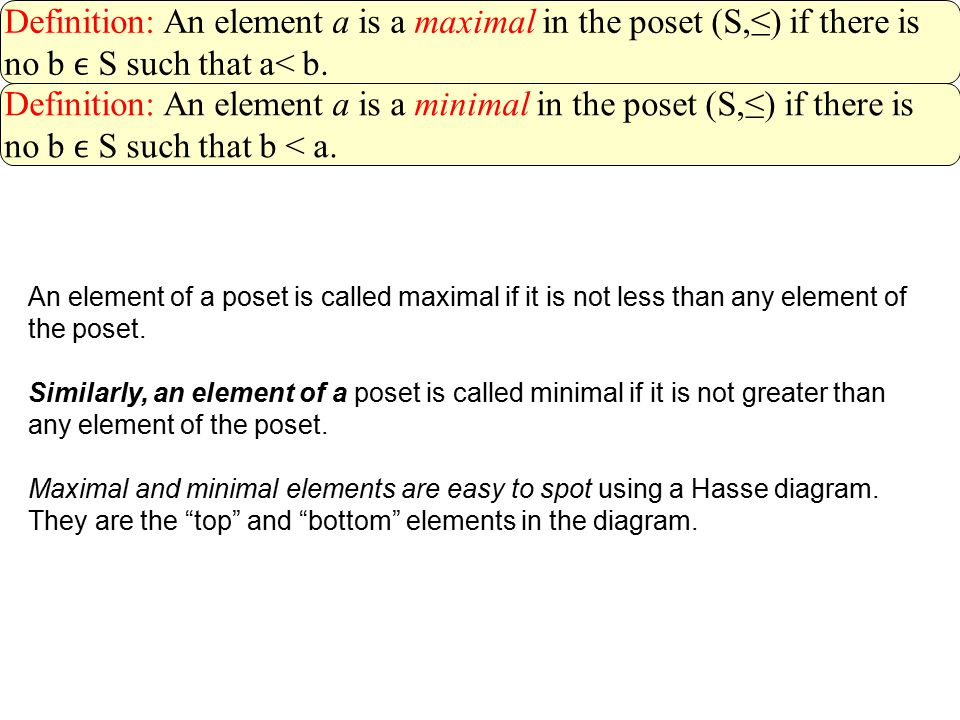 Definition: An element a is a maximal in the poset (S,≤) if there is