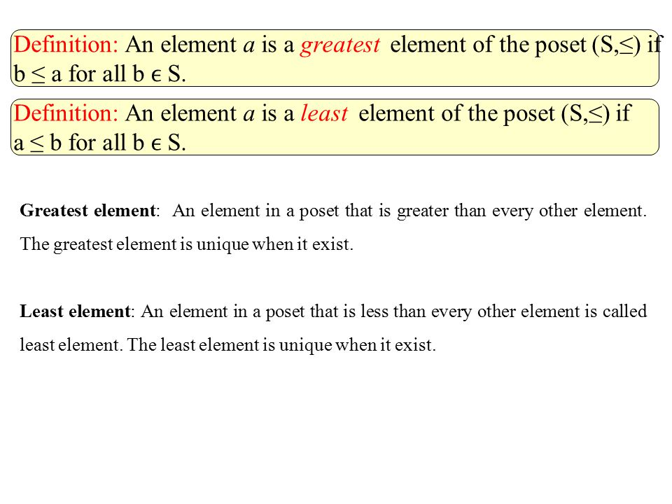 Definition: An element a is a greatest element of the poset (S,≤) if