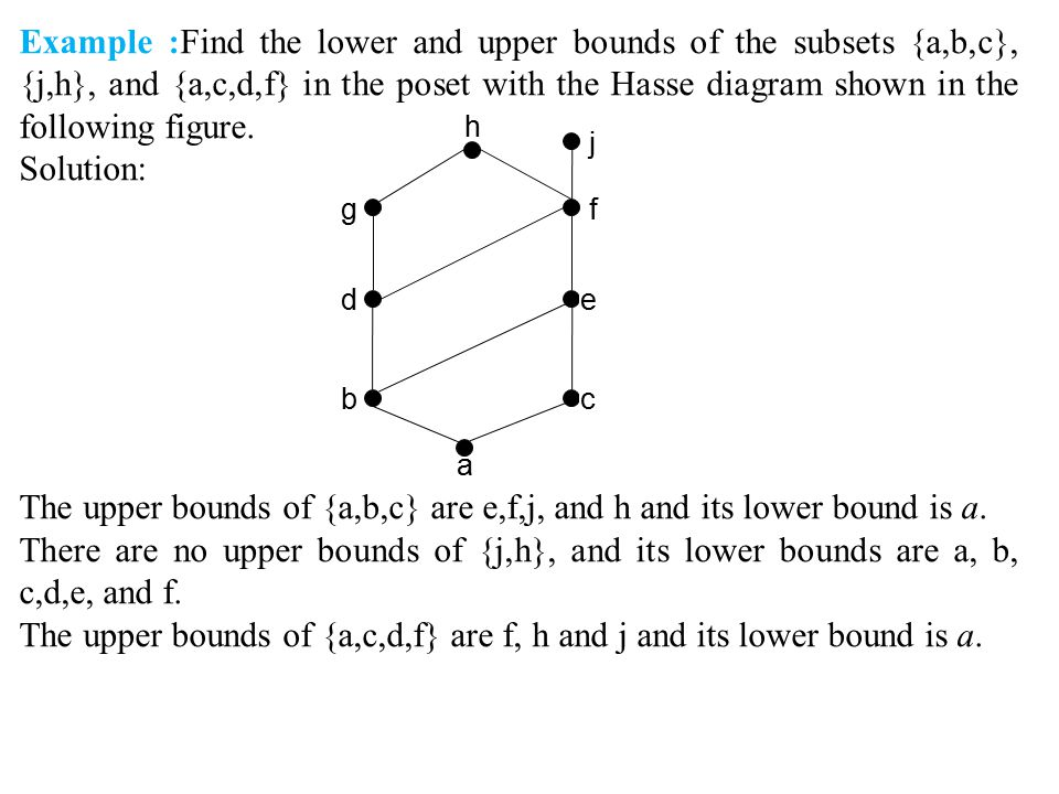 The upper bounds of {a,b,c} are e,f,j, and h and its lower bound is a.