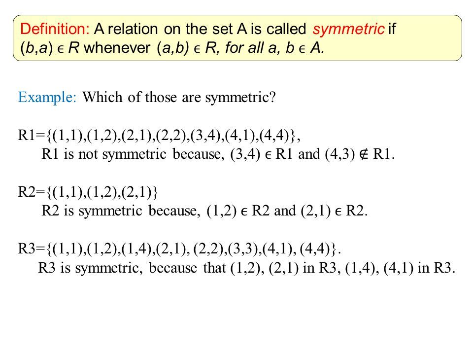 Definition: A relation on the set A is called symmetric if