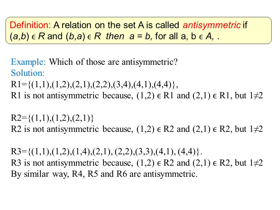 Definition: A relation on the set A is called antisymmetric if