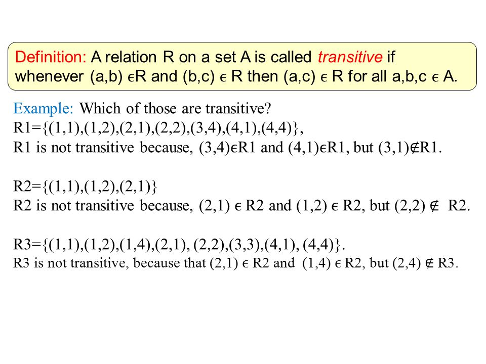 Definition: A relation R on a set A is called transitive if