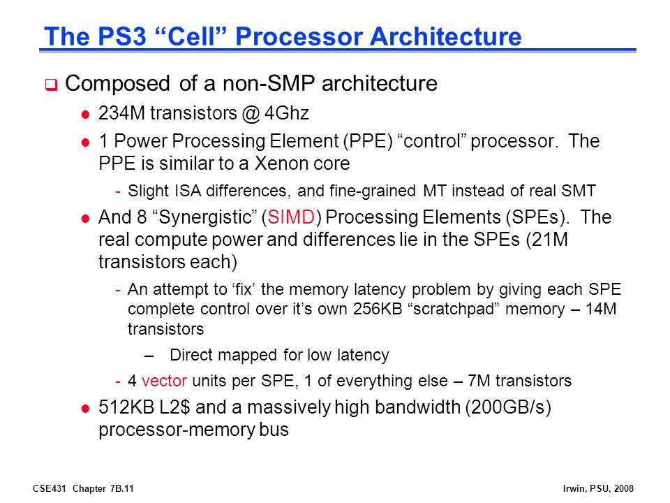 The PS3 Cell Processor Architecture