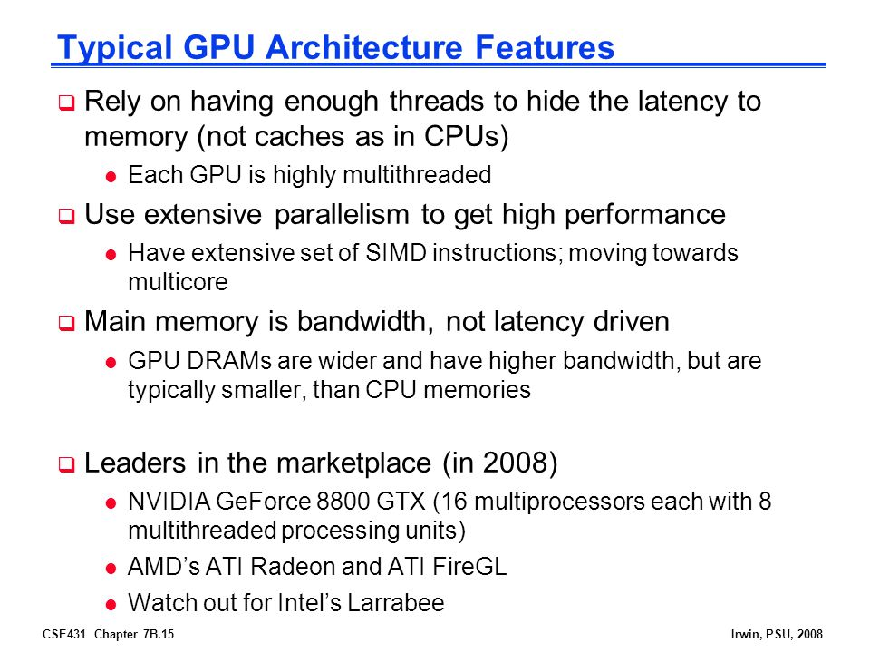 Typical GPU Architecture Features