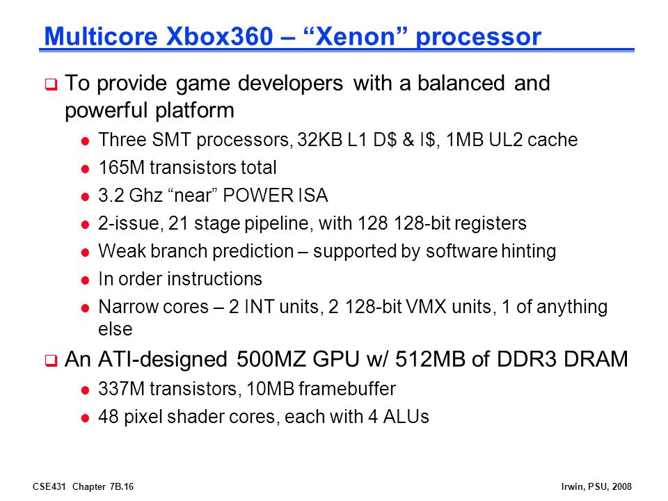 Multicore Xbox360 – Xenon processor