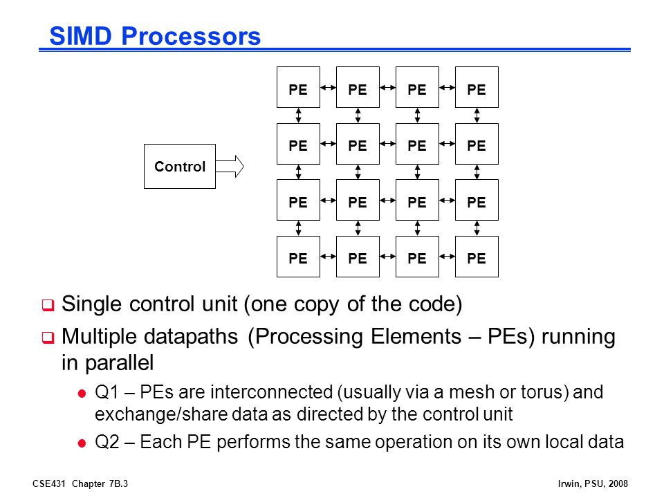 SIMD Processors Single control unit (one copy of the code)