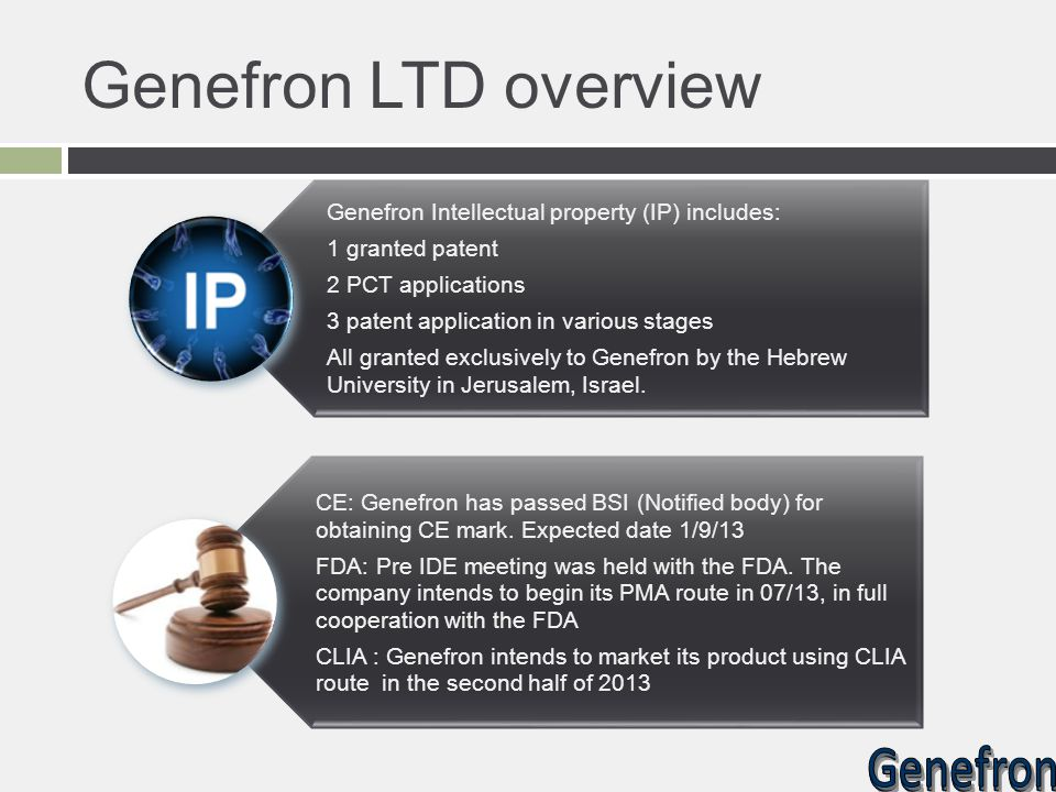 Genefron LTD overview Genefron Intellectual property (IP) includes: