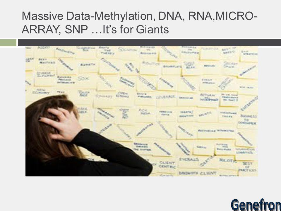 Massive Data-Methylation, DNA, RNA,MICRO-ARRAY, SNP …It's for Giants