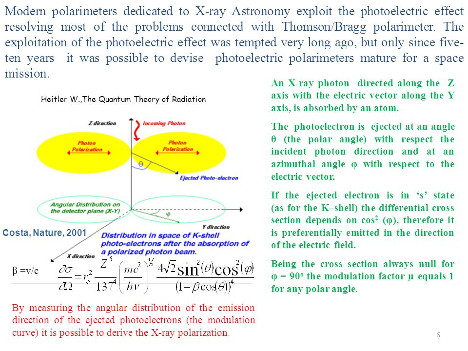 Modern polarimeters dedicated to X-ray Astronomy exploit the photoelectric effect resolving most of the problems connected with Thomson/Bragg polarimeter. The exploitation of the photoelectric effect was tempted very long ago, but only since five-ten years it was possible to devise photoelectric polarimeters mature for a space mission.