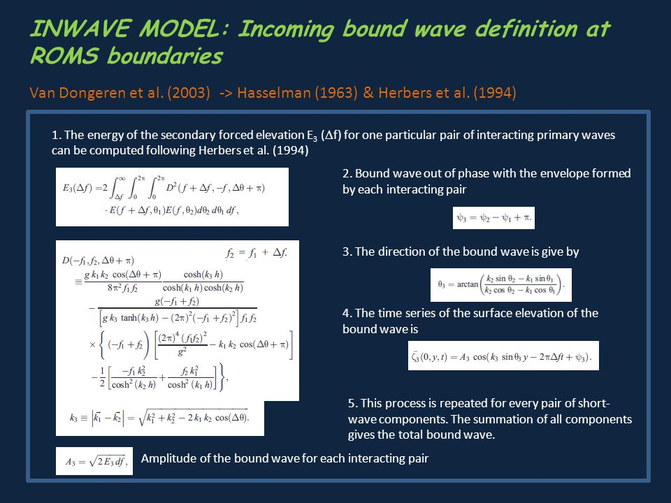 INWAVE MODEL: Incoming bound wave definition at ROMS boundaries