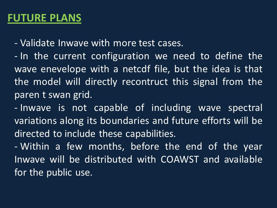FUTURE PLANS Validate Inwave with more test cases.