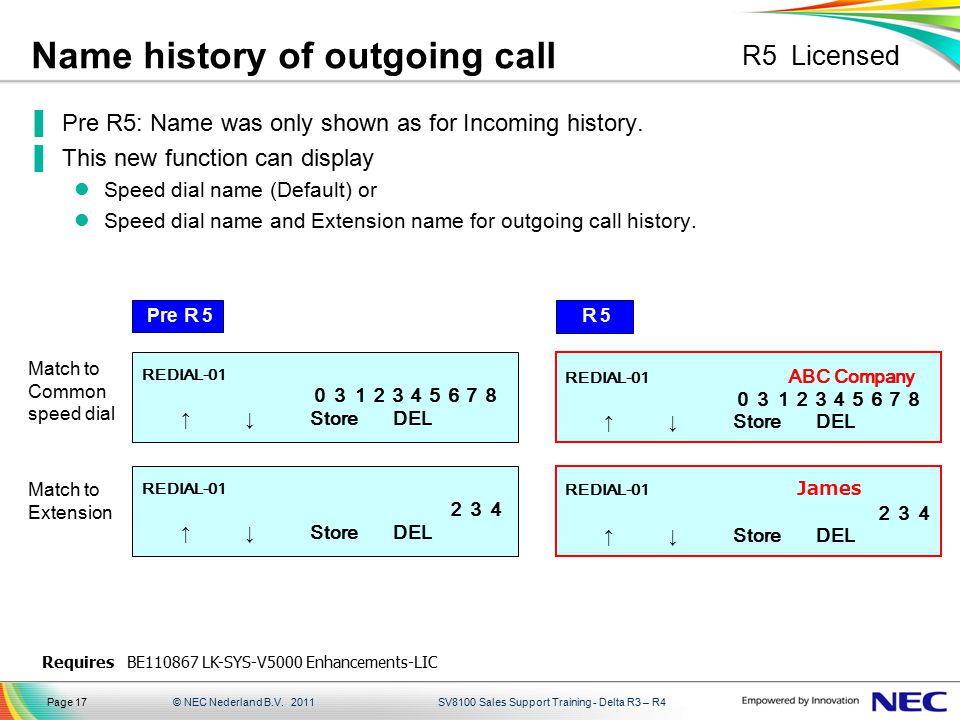 Name history of outgoing call