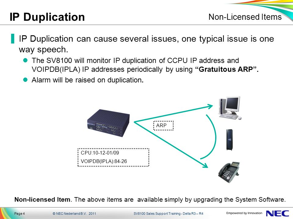 IP Duplication Non-Licensed Items. IP Duplication can cause several issues, one typical issue is one way speech.