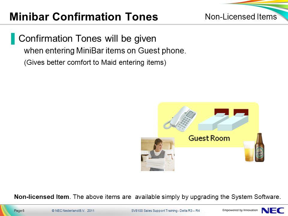 Minibar Confirmation Tones