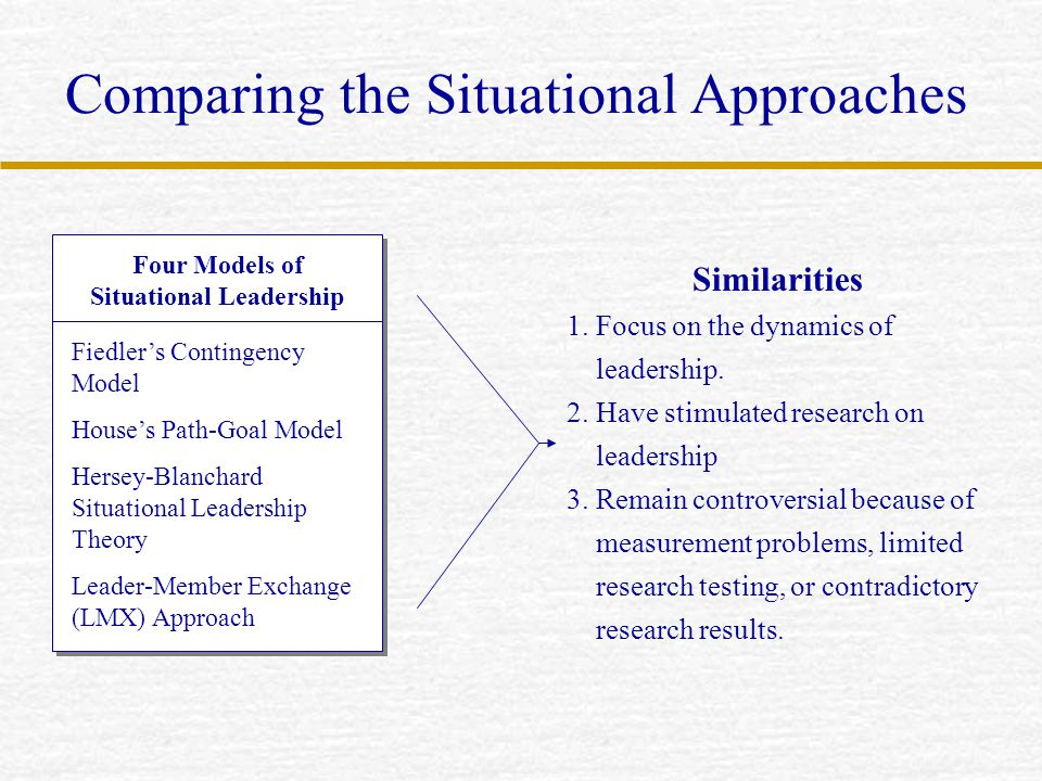 Comparing the Situational Approaches