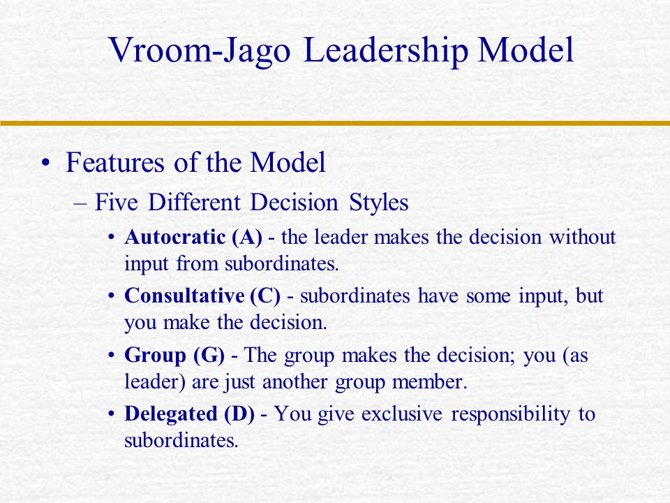 Vroom-Jago Leadership Model