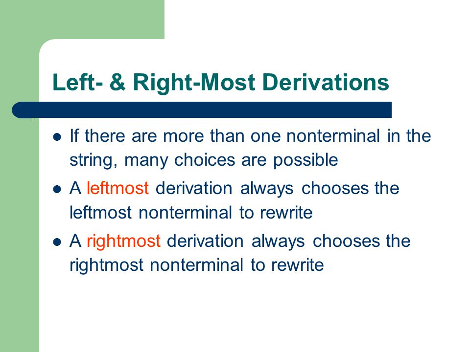 Left- & Right-Most Derivations