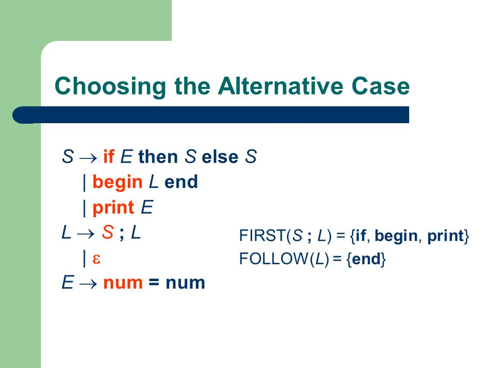Choosing the Alternative Case