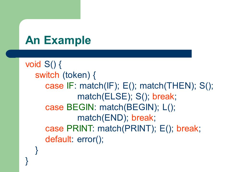 An Example void S() { switch (token) { case IF: match(IF); E(); match(THEN); S(); match(ELSE); S(); break;