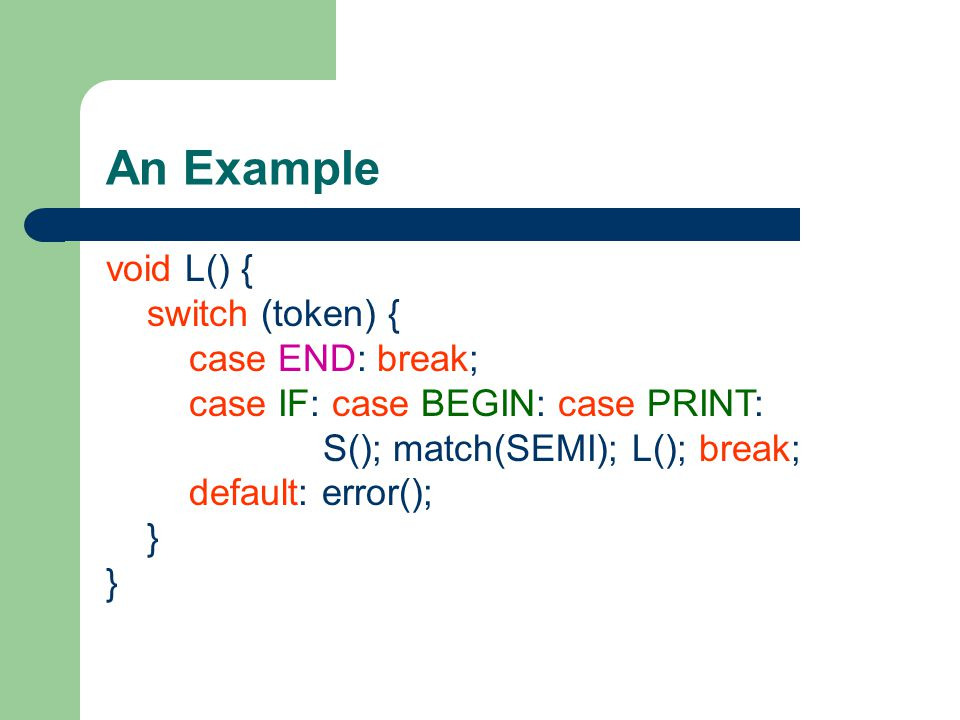 An Example void L() { switch (token) { case END: break;
