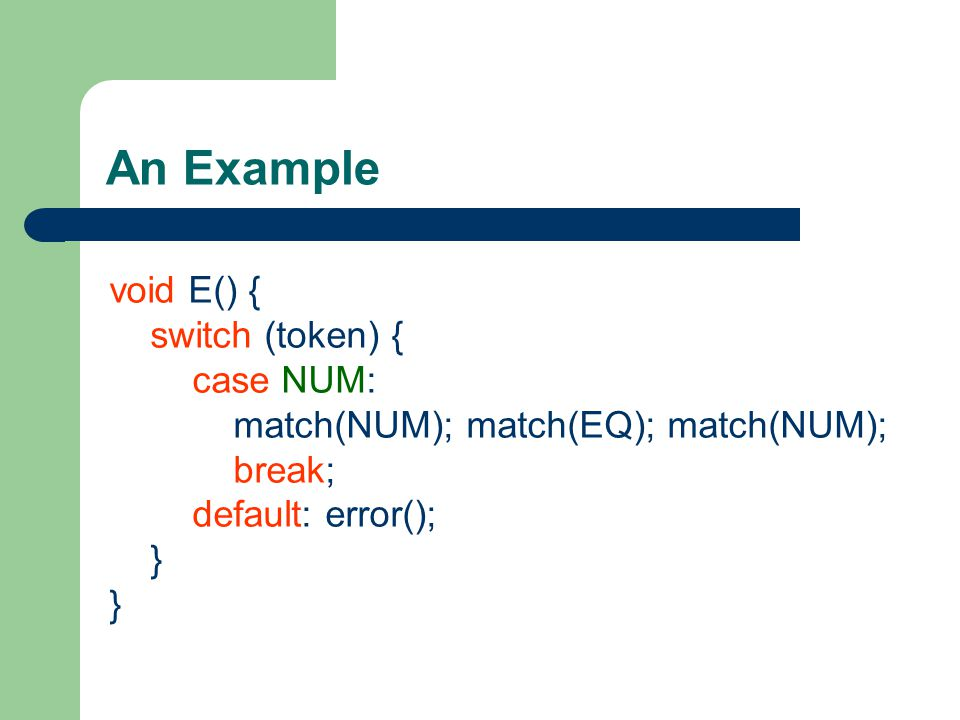 An Example void E() { switch (token) { case NUM: